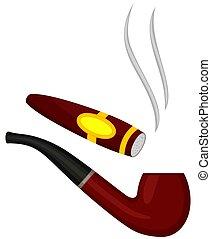 Colorful cartoon tobacco pipe cigar set