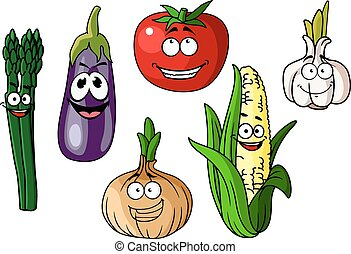 Colorful cartoon vegetables with happy faces