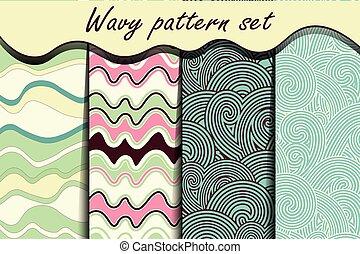 Colorful cartoon waves seamless pattern set.
