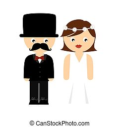 colorful cartoon wedding couple with costumes
