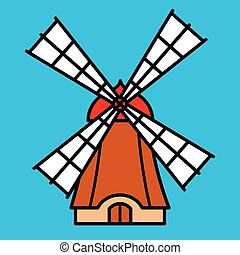 Colorful cartoon windmill