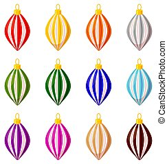 Colorful cartoon xmas tree decoration set