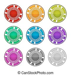 Colorful Casino Chips on a White Background. Vector