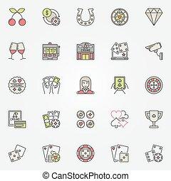 Colorful casino icons set