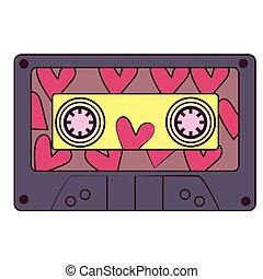 Colorful cassette flat illustration on white