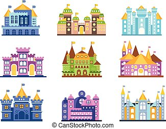 Colorful castles and mansions set. Collection of medieval buildings vector Illustrations