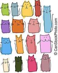 Colorful cats collection, sketch for your design