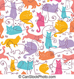 Colorful Cats Seamless Pattern Background - Vector Colorful...