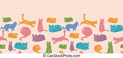 Colorful cats silhouettes horizontal seamless pattern background border