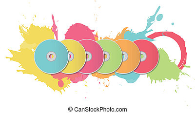 Colorful CDs on white background.