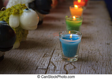 Colorful celebration candles in line