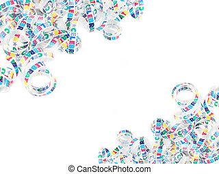 colorful celebration ribbon frame or border on a white...