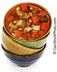 Colorful Ceramic Bowls Stacked with Maryland Crab Stew