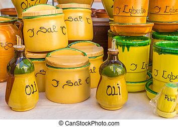 Colorful ceramic pots at the tourist market of Valencia