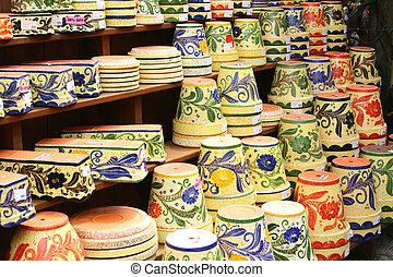 Colorful ceramic pots in Mijas