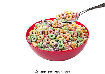 colorful cereal bowl and spoon