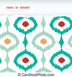 Colorful chain ikat frame horizontal torn seamless pattern...