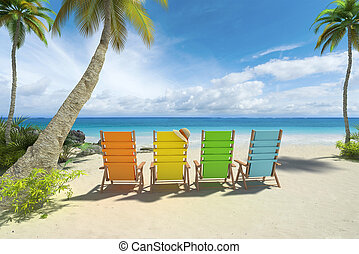 Row of colorful adirondack chairs on the beach A row of stock