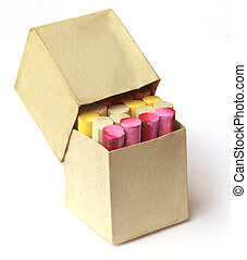 Colorful chalk in box - Colorful chalk in a box over white...