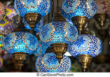 Colorful chandelier detail in Turkey. Close up