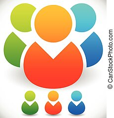 Colorful Character, Buddy Symbols. Icon with Group of 3 People for Gathering, Chat, Forum or Membership Concepts. Included Single Versions