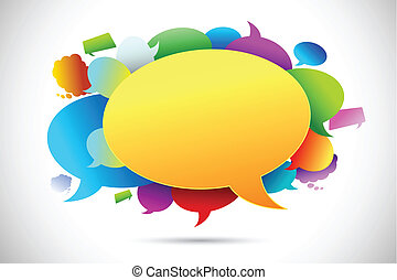 illustration of colorful chat bubble on abstract background