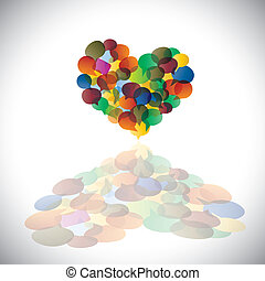 Colorful chat icons & speech bubbles as heart shape- concept vector. This illustration represents student community, social media communication or online chats and dialogs, discussions, etc