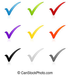 Colorful check mark set - Illustration of a colorful check ...