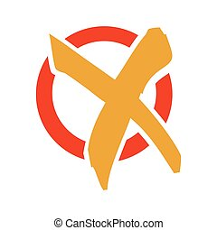 colorful check mark x flat icon
