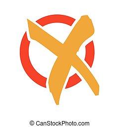 colorful check mark x flat icon