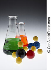 Colorful chemicals and molecules - colorful chemicals in...