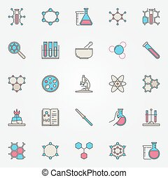 Colorful chemistry icons