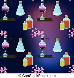 Colorful chemistry scientific seamless pattern with chemical...