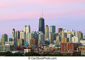 Colorful Chicago skyline. - Image of Chicago skyline at...