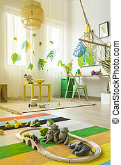 Colorful child room with rug