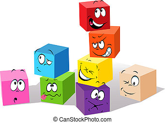 colorful childish cubes with faces