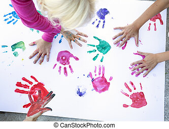 Colorful children hand