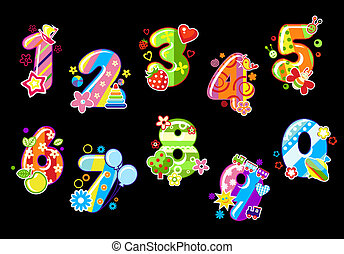 Colorful children numbers and digits with toys and ...