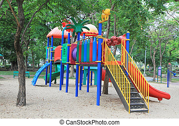 Colorful children playground in green park