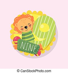 Colorful children s educational card with little smiling lion and number 9 nine . Learn to count. Cartoon flat vector design for math book, birthday postcard or sticker