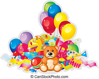 toys - colorful children toys and balloons