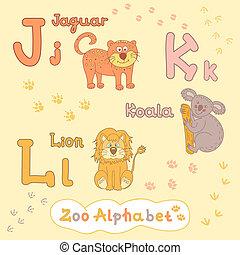 Colorful children's alphabet with animals, jaguar, koala, lion