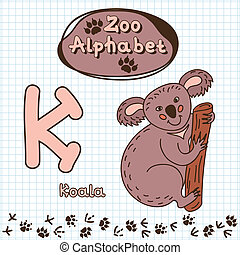 Colorful children's alphabet with animals, koala