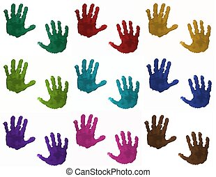 Colorful children's hands - Children's hand prints in...
