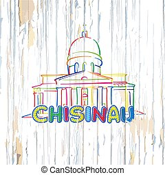 Colorful Chisinau drawing on wooden background. Hand-drawn...