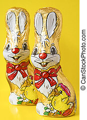 Colorful chocolate easter bunnies