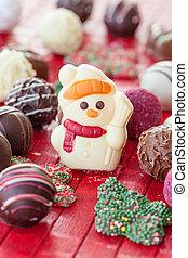 Colorful chocolate for christmas