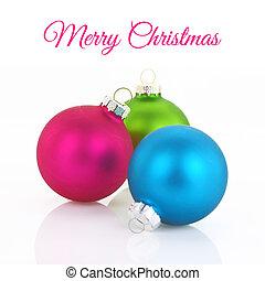 Colorful Christmas balls closeup