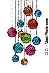 Colorful Christmas balls group hanging