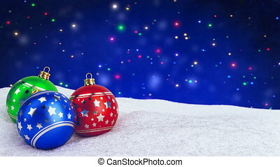colorful christmas balls in snow on bokeh background. Seamless loop. 3D render.